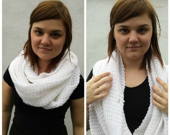 White infinity scarf, knit infinity scarf, knit cowl, white cowl, white and silver cowl, chunky knit scarf, chunky infinity scarf