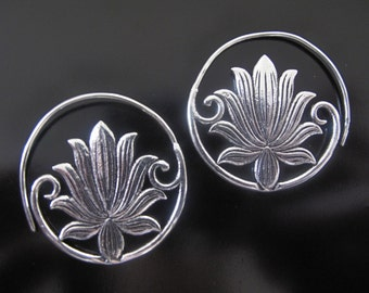 Lotus Earrings, Flower earrings, Silver plated Lotus Earrings, Tribal Earrings , Lotus Earrings