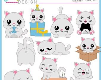 Cat Clipart, Planner cat clipart, kawaii cat, kawaii clipart, kitty clipart, cat clip art, pet clipart, pet clip art, instant download