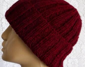 Burgundy wine watch cap, brimmed beanie hat, mens womens knit hat, skull cap, winter hat, chemo cap, toque, burgundy wine hat, hiking biker
