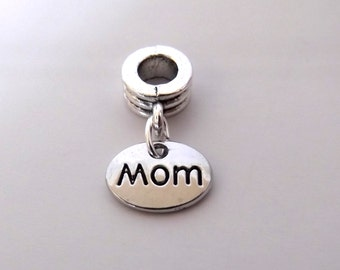 European Bracelet Charm Bead w Dangle, Mom, Sold Individually, Mothers Day Birthday Christmas Gift, Large Hole, Big Hole Bead, ID 241246930
