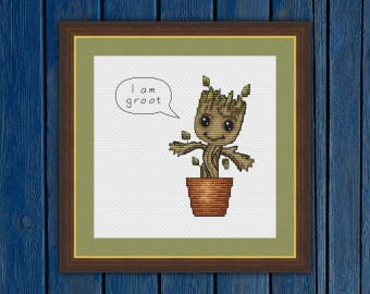 I am groot! | Guardians of the Galaxy | Baby Groot - cross stitch pattern PDF