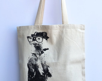 Smart OTTER - Eco-Friendly Market Tote Bag - Hand Screen printed (Ships FREE!)