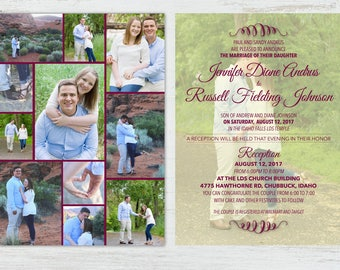 Classic Wedding Invitation with 11 photos, for those who want lots of pictures