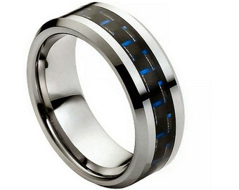 Tungsten Carbide with Blue Carbon Fiber Inlay 8mm