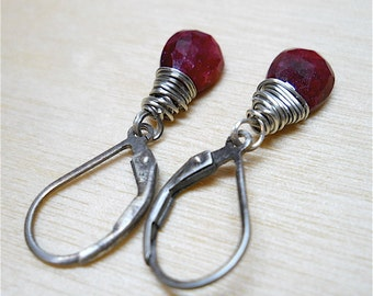 Red RUBY Black Oxidized Sterling Wire Wrapped Earrings,  JULY BIRTHSTONE Gift ~ Avail. 14k Gold Filled . Leverback Ear Wires .