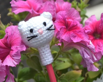 Pencil topper, amigurumi cat, crochet animal head pencil cozy