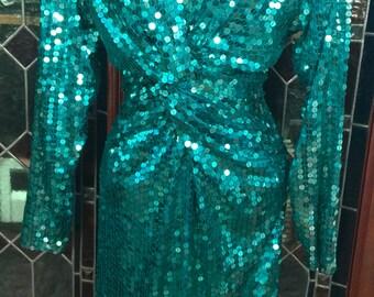 1980s Bonwit Teller green sequined dress
