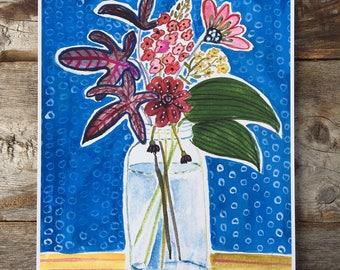 Garden Flowers in a Mason Jar Archival Print of a Gouache Painting