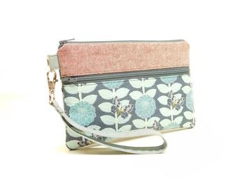 gray butterfly iphone wallet, iphone wristlet, gray clutch, mini purse, blue gray butterfly smartphone wristlet, gray blue smartphone wallet