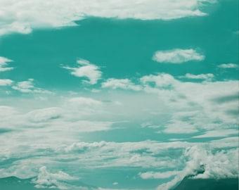 Blue skies above blue ocean, dreamy seascape photogrpahy, travel prints, Scandinavian nature views, Molde, Norway