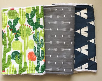 Cactus Burp Cloth Set of 3 - Tepee Burp Cloth - Arrow Burp Cloth - Chenille Burp Rag - Cactus Baby Shower Gift - Baby Shower Gift Set