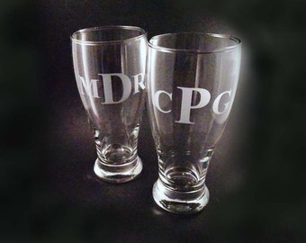 Personalized Pilsner Glasses, Set of 4 - Etched Beer Mug, Etched Beer Glass
