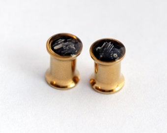6mm Steampunk Ear Plugs / Steampunk Ear Tunnels / Double Flare Tunnels / 2G Gauge. Pair.