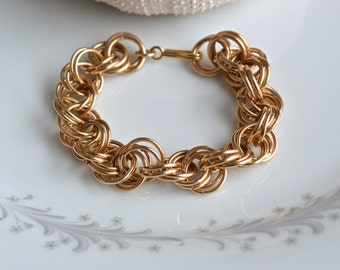 Gold chunky chain maille bracelet, gold chain maille bracelet