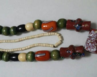Vintage Indian Trade Beads, Bone, and Wood Necklace