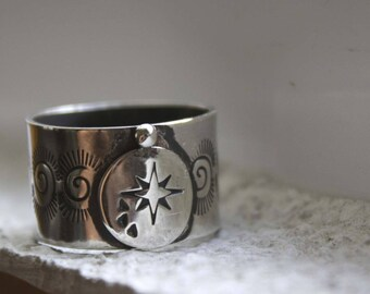 Sterling silver galaxy ring - astronomy ring - space - spiral ring - compass - travel - thumb ring - large ring - sky - universe - MILKY WAY