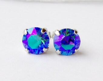 Saphir Gletscher blau Strass Ohrstecker / 8mm / swarovskikristall / Geschenk für sie / Geburtstagsgeschenk / September Geburtsstein / einzigartiges Geschenk