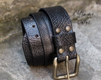Handmade 40mm leather black belt