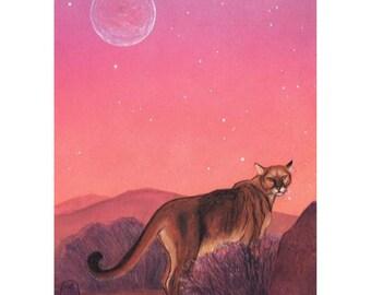 Cougar at dawn, print of my original painting, Desert Dawn, mountain lion