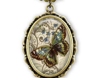 BLUE BUTTERFLY Necklace - Antiqued gold - Butterfly Art  Pendant and chain - Butterfly Garden - Blue - Green - Sand - Lepidopterist - Moth