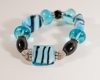 Turquoise, Black & White Glass Bead Stretch Bracelet