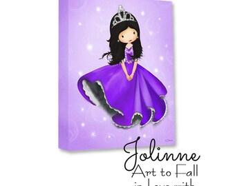 Princess wall art, Kids room art, Purple Princess room, Kids art, Princess room decor, Wall art for kids room, Purple Nursery Art, Children