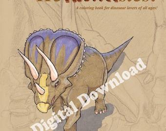 Digital Dinosaur HeRAWRsies Coloring Book - Dinosaur Coloring Book - Adult Coloring Book - Digital Download - Digital coloring book