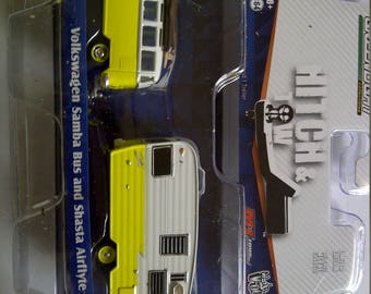 VW Microbus With Yellow Shasta Trailer new in blister