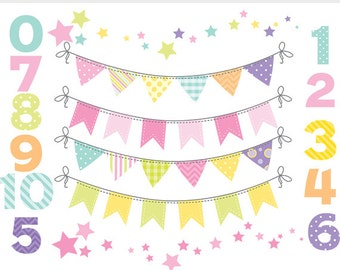 Bunting clip art pastel bunting banner flags clipart numbers for digital scrapbooking flags decorative soft colors pink party spring chevron