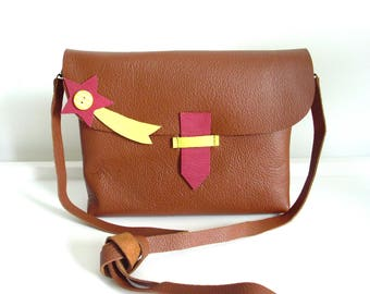 * Mini star Filante pink and yellow leather bag *.