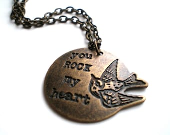 Brass Hand Stamped Charm Necklace- You Rock My Heart
