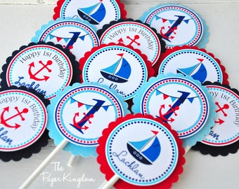 Nautical Cupcake Toppers, Nautical Birthday Party, Nautical Baby Shower - Set of 12