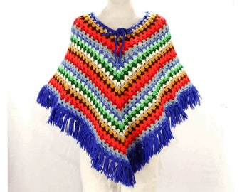 Rainbow Crochet Cape with Fringe - Small to Medium - See Through - Hippie Boho 60s 70s Poncho - Fall - Casual - Hand Crocheted - 49618