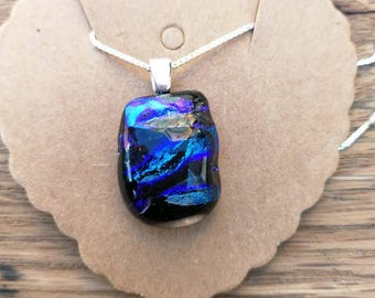 Navy Blue and Purple Dichroic Glass, Sterling Silver Pendant on a sterling silver chain.