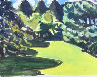 Juli Schatten, 2017, ORIGINAL Öl auf Leinwand-Landschaftsmalerei von Shirley Kanyon, 9.1x12x1.6 Zoll, 23x30.5x4 cm