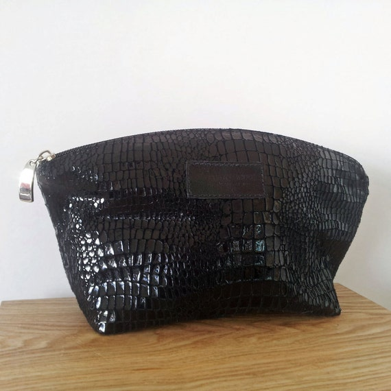 Lizard Print Leather Cosmetic bag