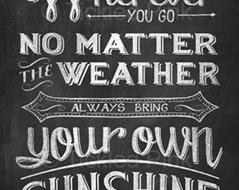 Wherever You Go No Matter the Weather Always Bring Your Own Sunshine - Chalk Art Chalkboard Print