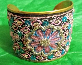 Brass, Beaded and Sequin Vintage Bracelet (2 in Wide)