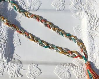Crochet Braided Tassel Necklace ,Crochet Braided Necklace,Handmade Crocheted Necklace