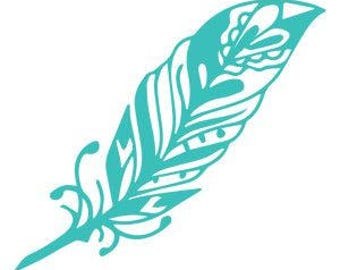 DIY Feather Vinyl Decal. Choose Size, Choose Color, Laptop Decal, Car Window Decal, Tablet Decal, Cell Phone Decal, Glass Drinkware Frame It