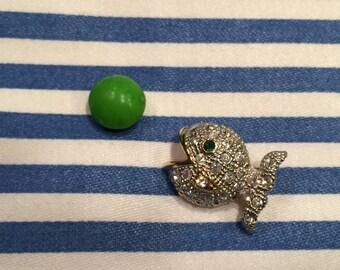 Vintage Crystal Pavé Fish Tack Pin with Green Crystal Eye