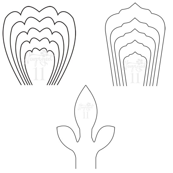 set of 2 flower templates and 1 leaf template giant paper flower template flower wallprintable flower templatepaper flower template from - Leaf Templates