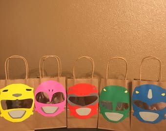Power ranger goodie bags/ loot bags / party favors/ pinata bags / candy bags