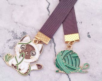 Cat & Yarn Ribbon Bookmark// Gift for Book Lovers// Travellers Notebook Bookmark