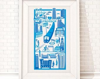 Croydon Print | London illustration | South London print | Croydon illustration | Housewarming gift | London gift | CR0 print | Wall art
