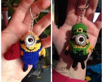 Minion Keychain, ornament, dangle - MADE to ORDER- Valentine's, Leprechaun