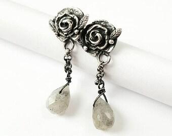 Silver rose earrings labradorite earrings handmade earrings romantic rose earrings