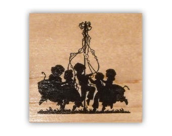 Children dancing around the Maypole Sihouette mounted rubber stamp kids birthday party, spring celebration, dance, Crazy Mountain Stamps #1