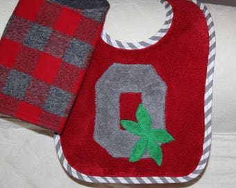 Ohio State Baby Buckeye Baby Block O Baby Bib with a Scarlet and Grey Plaid Flannel Burp Cloth for Buckeye Baby Boy or Ohio State Baby Girl